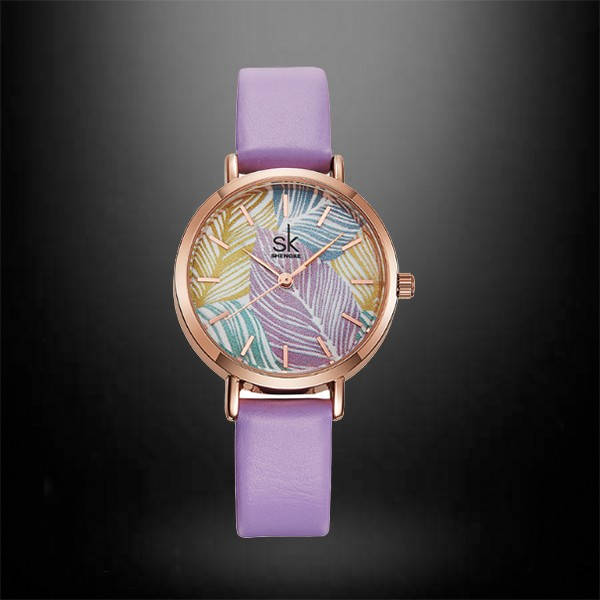 Shengke Creative Leaves Dial Ladies